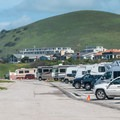The campground is right in the northern part of the town of Morro Bay.- Morro Strand Campground
