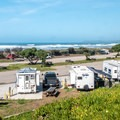 Looking down on the campground from the road.- Morro Strand Campground