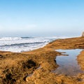 The rocky shoreline of Pomponio State Beach.- Pomponio State Beach