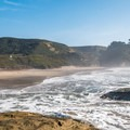 View of the beach from the bluff.- Pomponio State Beach