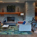 Lobby fireplace and lounge.- Crystal Lodge