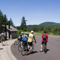 Cyclists making a stop at Fort Yamhill for lunch.- Fort Yamhill State Heritage Area