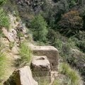 The trail crawls over the ruins of Rubio Pavilion.- Rubio Canyon