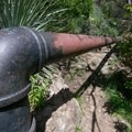 The hike requires hiking over and under pipes.- Rubio Canyon