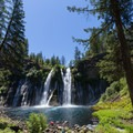 Full view of the falls and the pool below.- McArthur-Burney Falls Memorial State Park