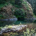 Multicolored waters along the Molalla River.- Day Use Site 11: Molalla River Swimming