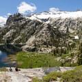 Resting after a tough scramble to El Lake.- Canyon Creek Lakes