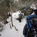 Ascending the icy ledges on the Mount Washington climb.- Mount Washington: Lion Head Winter Route