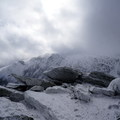 Clouds moving quickly over Tuckerman Ravine.- Mount Washington: Lion Head Winter Route