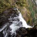 Going over Multnoman Falls.- Franklin Ridge Loop Hike