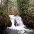 Mulnomah Creek dropping into the basin above the main waterfall.- Franklin Ridge Loop Hike