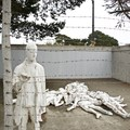 White painted bronze statue representing the Holocaust outside of the Legion of Honor.- Legion of Honor