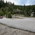 Parking area for Emerald Pools. The hike begins about 250 feet further northwest along the road from here.- Emerald Pools