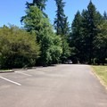 Day use area parking lot at John Neal Memorial Park.- John Neal Memorial Park Campground