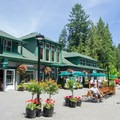 Visitor center and concession building near the entrance.- The Butchart Gardens