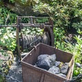 Old mining equipment in the Sunken Garden.- The Butchart Gardens
