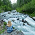 Taking in the view of Mill Creek at the Jasper Mines.- Hole-in-the-Ground Campground