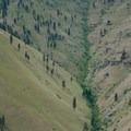 Runoff between canyon walls on the Swakane Canyon hike.- Swakane Canyon