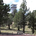Green Mountain Lookout Tower from the Green Mountain Campground.- Green Mountain Campground