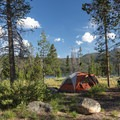 Typical site at Smokey Bear Campground with a lake view.- Smokey Bear Campground + Boat Launch