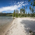 View toward Redfish Lake Lodge from the beach.- North Shore Day Use Area