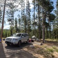 Typical site at the entrance to Glacier View Campground.- Glacier View Campground, Redfish Lake