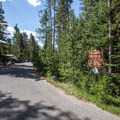 The campground is opposite the parking area.- Redfish Lake Outlet Day Use Area