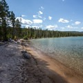 The beach at Outlet Day Use area.- Redfish Lake Outlet Day Use Area