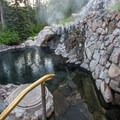 One of the upper pools offers the perfect temperature.- Strawberry Hot Springs