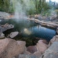 Looking at one of the larger pools.- Strawberry Hot Springs