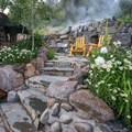 The area is surrounded by wildflowers and beautiful aspen trees.- Strawberry Hot Springs