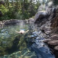 Relaxing in the upper pool.- Strawberry Hot Springs