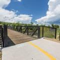 Pedestrian bridge along the core trail.- Yampa River Core Trail