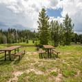 Picnic area at Placer Cove.- Steamboat Lake State Park