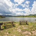 Picnic area at Placer Cove overlooking Steamboat Lake.- Steamboat Lake State Park