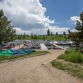 Rental boats and the marina. - Steamboat Lake State Park