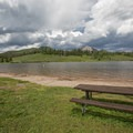 Swimming beach at Steamboat Lake State Park.- Steamboat Lake State Park