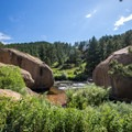 There are a few good swimming spots near the boulders close to the confluence of the Platte Rivers.- North Fork of the South Platte River