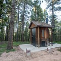 Vault toilets are available at the campground.- Devils Head Campground