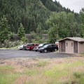 Vault toilets and parking at the boat ramp in Minam.- Grande Ronde River: Minam to Troy