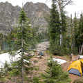A backcountry campsite at Gem Lake.- Seven Devils: Windy Saddle to Sheep Lake