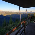 Mount Jefferson and evening light on the east deck.- Gold Butte Lookout