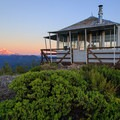 Sunset on Mount Jefferson.- Gold Butte Lookout