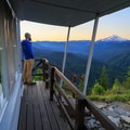 Sunrise view of Mount Jefferson from the south deck.- Gold Butte Lookout