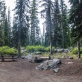 A typical campsite at Seven Devils Campground.- Seven Devils Campground