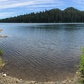 A second, smaller boat ramp just to the east of the main ramp.- Elk Lake, Bull of the Woods Wilderness