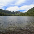 Mount Beachie at the center of the west end of the lake with Battle Ax Mountain to the right.- Elk Lake, Bull of the Woods Wilderness