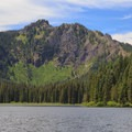 Close-up view of the rugged Mount Beachie.- Elk Lake, Bull of the Woods Wilderness
