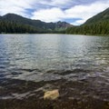 View from one of the free campsites at the east end of the lake.- Elk Lake, Bull of the Woods Wilderness