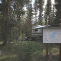 The entrance to Quinn River Campground, with an old, rustic map of the surrounding area.- Quinn River Campground